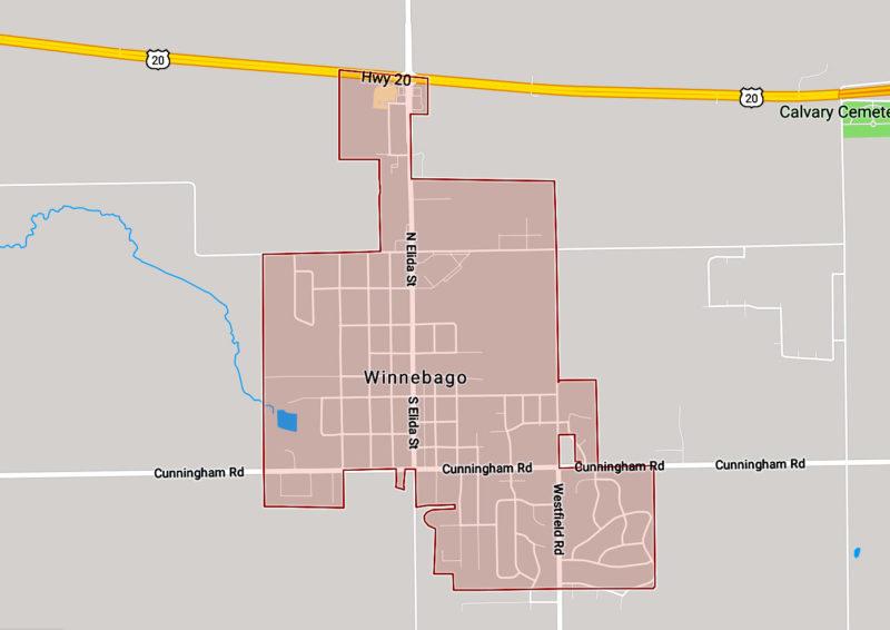 winnabago Wisconsin map