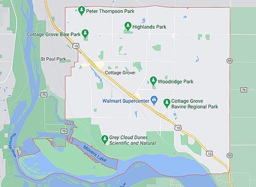 Gottage Grove Area Map