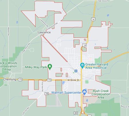 Harvard WI Service Area Map